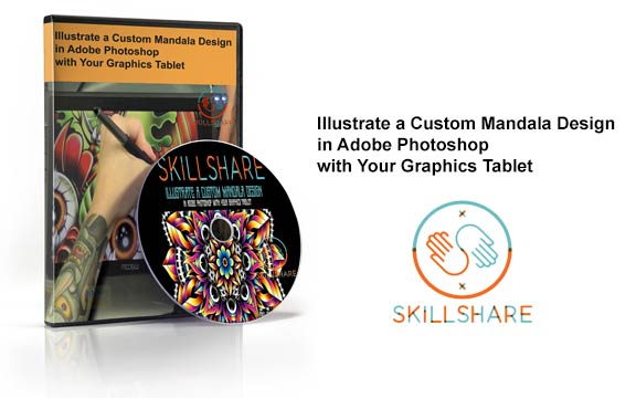دانلود فیلم آموزشی Illustrate a Custom Mandala Design in Adobe Photoshop with Your Graphics Tablet